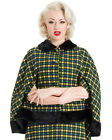 VINTAGE CAPE GREEN WOOL DRESS POLKA DOT SHORT ROCKABILLY COAT RETRO 50'S VTG
