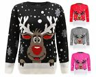 LADIES REINDEER CHRISTMAS SNOW FLAKES RUDOLF WOMENS XMAS KNITTED JUMPER TOP16-30
