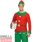 Men's Elf Santa Helper Christmas Xmas Fancy Dress Costume & Hat Adult Outfit