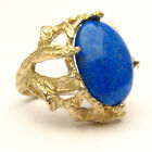 Handmade 14k Blue Gold Lapis Claw Cocktail Ring 18x13mm 12+ct 11 Grams of Gold
