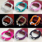 New Style Multilayer Woven Leather Shamballa Crystal Disco Bracelets HOT