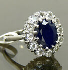 Royal Engagement Genuine Blue Sapphire White Topaz Bridal Halo Ring 925 Sterling