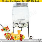 15L Beehive Glass Drink Dispenser TUSCAN CAST IRON Stand Beverage Summer Party