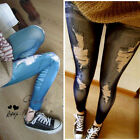 Retro Lady Skinny Slim Distressed Stretchy Jeans Leggings Jegging Pants Trousers