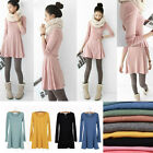 Women Dress Long Sleeve Wool Soft Underskirt One-piece Dress Korean Style