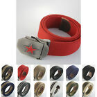 Military Red Star Stainless Steel Buckle Mens Webbing Waist Canvas Thick Belt