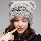 New Lady's Real Genuine Knit Rabbit Fur Cat Ear Shaped Cute Hat Cap cover Ear