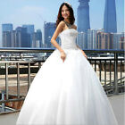 Custom A-line white Wedding Dress ball Prom Bridal gowns lace up Stock Size6-16