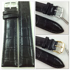 HQ BLACK 24mm 28mm ITALY GLOSSY CROC GRAIN LEATHER WATCH BAND STRAP w/CLASP