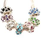 New Hot Sell Assorted Colors Charms Enamel Silver Plated Rhinestone Alloy Beads