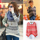 Knitted Geometric Pattern Women Pullover Thick Loose Sweater Outwear Tops E