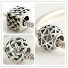 925 Solid Sterling Silver Woven Hollow Bead fit European Charm Bracelet