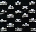 16pc 2-in-1 Cubic Zircon White Gold P Engagement Wedding Rings Wholesale Jewelry