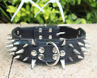 New Great Quality Spiked PU Leather Dog Collar Studded Large BLACK Size S M L XL