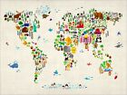 Animal Map of the World for Children and Kids, Art Print Poster - s60