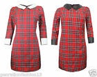 Women's Ladies Red Tartan Check Print Skater  PU Collar Body Con Dress 8-16