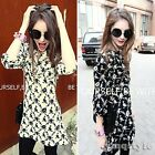 New Women V-Neck Floral Print Chiffon Casual Waisted Skater Swing Cocktail Dress