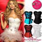 UK Lace Leather BUSTIER BASQUES CORSET LINGERIE SETS FREE G-STRING PLUS SIZE