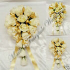 WEDDING FLOWERS BRIDE/BRIDESMAID  BOUQUET SILK ROSEBUDS IVORY WITH COLOUR RIBBON