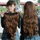 Women curly wave long brown hair extensions fashion long hairpiece 5 clips-in on