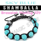 Sky Blue Shamballa Bracelet Making Kit Quality CZ Crystal Beads & Instructions