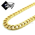 "18-40""MEN's Stainless Steel 6mm Gold Cuban Curb Link Chain Necklace"