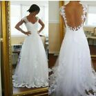 New Lace Sexy Bridal Wedding Dresses Prom Gown Evening Lace custom All Size 2-26