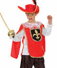 Red Musketeer + Hat Boys Fancy Dress Medieval Book Week Kids Costume Outfit New