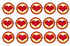 "#33 RED HEARTS STAR 1"" PRE CUT BOTTLE CAP IMAGES SCRAPBOOKING CRAFT PROJECTS"