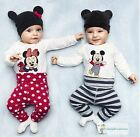 New Baby Boys Girls Mickey Minnie 3 Pcs Outfit set Beanie Top Pants Size 0,1,2