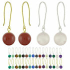 14k Solid White / Yellow Gold 8mm Round / Ball Natural Gemstones Hook Earrings