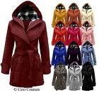 WOMENS BELTED BUTTON LONG COAT LADIES HOODED JACKET 8-20