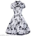 PRETTY KITTY 50s WHITE FLORAL COCKTAIL VINTAGE TEA SWING PROM PARTY DRESS 8-20