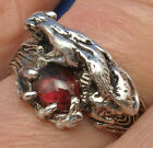 Cougar, Panther Man's Ring, Garnet, Sterling Silver made to order your size