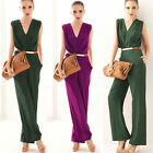 New Sexy Women's V Neck Sleeveless Prom Cocktail Jumpsuit Long Wide Leg Pants