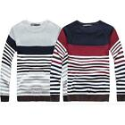 Men Casual Slim Fit O-neck stripe Knitted Cardigan Pullover Jumper Sweater MZL04
