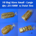1Mil Clear Bread Bags & Twist Ties Gusseted Square Plastic Poly Bakery Deli Loaf