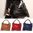 Fashion Lady PU Faux Leather Hobo Clutch Purse Handbag Shoulder Totes Tassel Bag