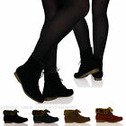 New Womens Ladies Flat Fur Lined Ankle Boots Booties Lace Up Warm Shoes Sizes
