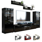 Wall Unit Living Room Furniture Almada V2 Black - High Gloss & Natural Tones