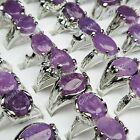 8pcs-30pcs Natural Amethyst Stone White Gold Plated Womens Rings Wholesale Lots