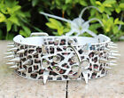White Leopard Spiked Studded Dog Collar PU Leather Large Dog Collar S M L XL
