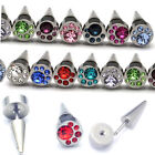 8mm Diamante Round Stainless Steel Men Women Stud Earring rhinestone 1pc