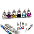 6mm Round Stainless Steel Men Women Stud rhinestone  Earring 1pc