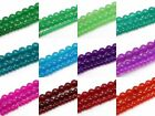 "Jadite Transparent Glass Beads, 32"" Strands, 4mm, 6mm, 8mm, Choose Color & Size"
