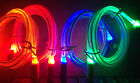LED GLOW light charger cable FOR apple iPhone X 8 7 6 5 4S galaxy S7+ micro usb