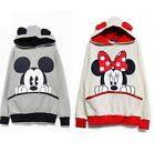 Womens Fashion Cute Mouse Print Ears Loose Couple Hoodie Jacket 2 Color E427MS