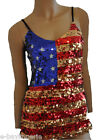 GOLD USA FLAG SEQUIN DRESS AMERICAN PARTY CLUBBING COSTUME WORLD CUP RETRO 90's