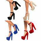 WOMENS SUEDE HIDDEN PLATFORM BLOCK HIGH HEEL BUCKLE ANKLE STRAPPY SIZE PROM