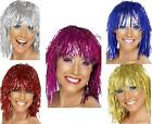 Tinsel Wig Shoulder Length Blue Silver Gold Red Pink Cyber theme Sci Fi
